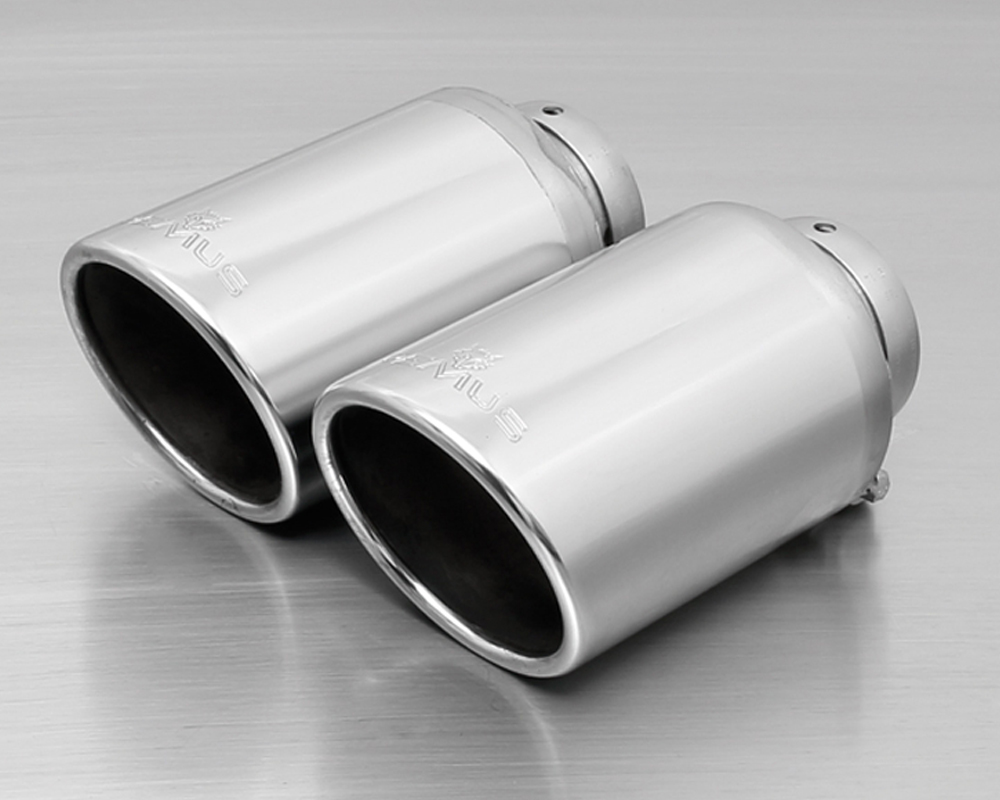 Remus Chrome Dual Exhaust Tips Angled 102mm Ford Mustang 2.3L Turbo EcoBoost 15-16