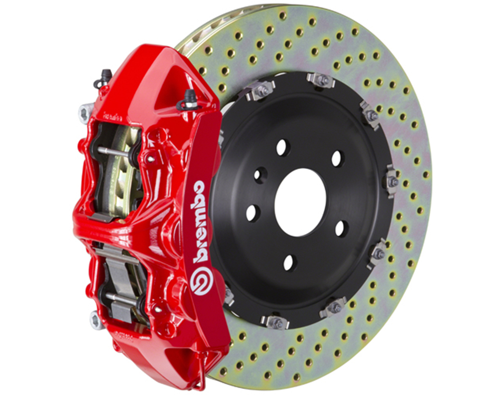 Brembo 355x32 1 Piece Rotor 6 Piston Red Front Drilled Big Brake Kit Chevrolet Camaro LT 16-17