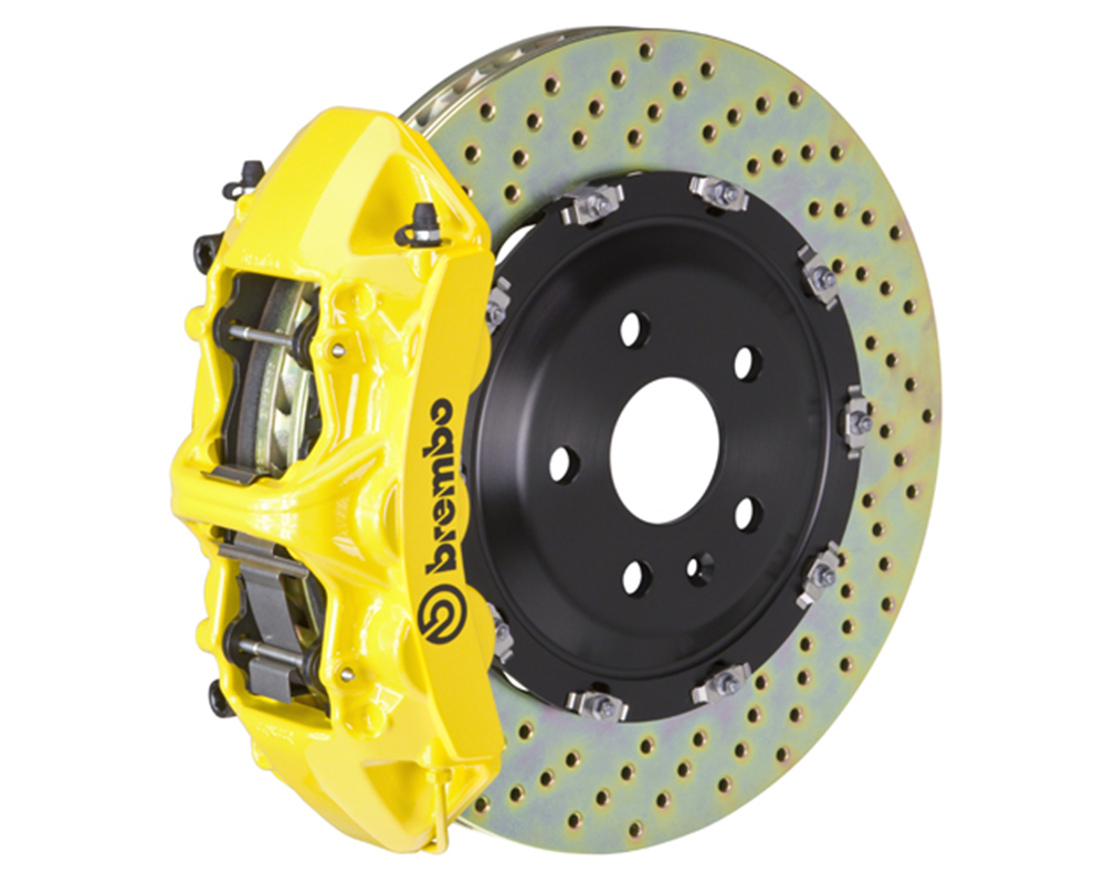 Brembo 355x32 1 Piece Rotor 6 Piston Yellow Front Drilled Big Brake Kit Chevrolet Camaro LT 16-17