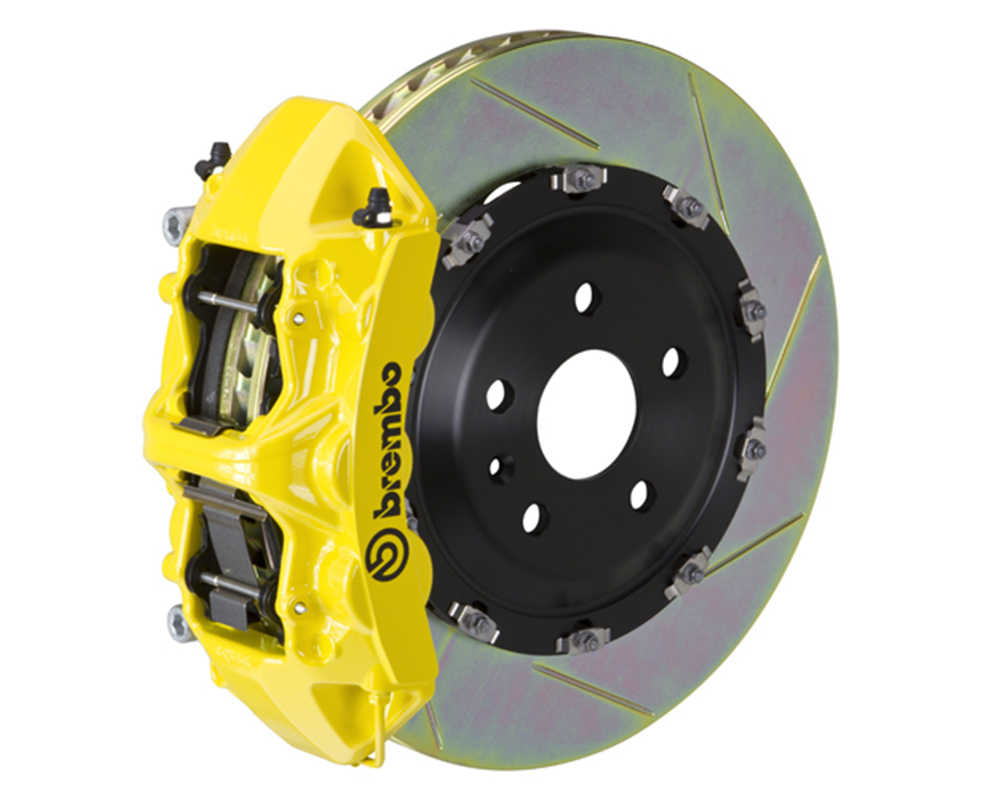 Brembo 355x32 1 Piece Rotor 6 Piston Yellow Front Slotted Big Brake Kit Chevrolet Camaro SS 16-17