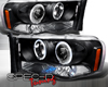 SpecD Black CCFL Halo LED Projector Headlights Dodge Ram 02-05