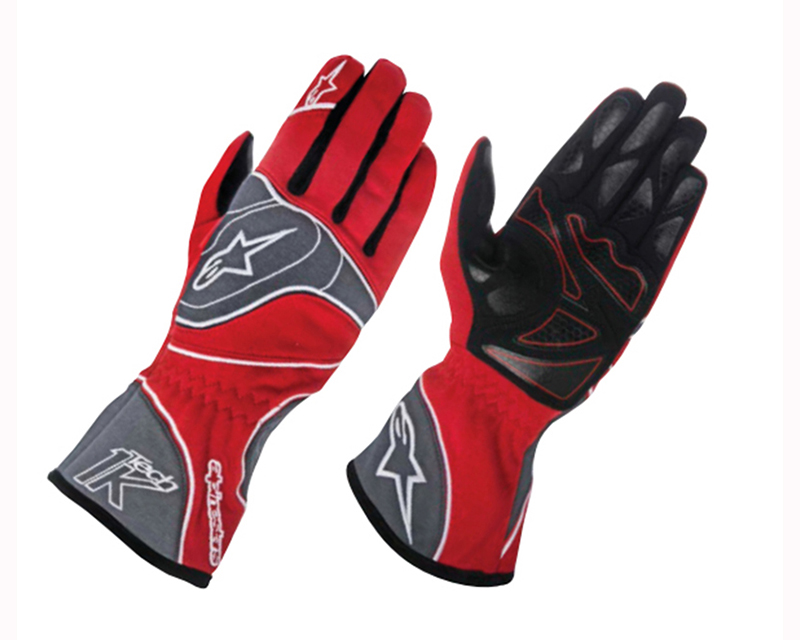 Alpinestars Anthracite, Red and White Tech 1-K Gloves - Size 2XL