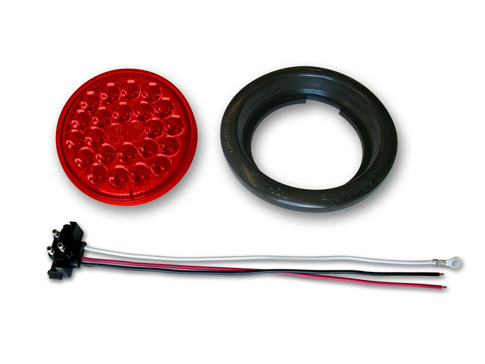 4 24-LED Taillight Push-In with Pigtail & Grommet Red Poison Spyder