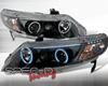 SpecD Black CCFL Halo Projector Headlights Honda Civic 06-08 4D