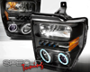 SpecD Black CCFL Halo LED Projector Headlights Ford F-250 08-09