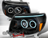 SpecD Black CCFL Halo LED Projector Headlights Toyota Tacoma 05-10