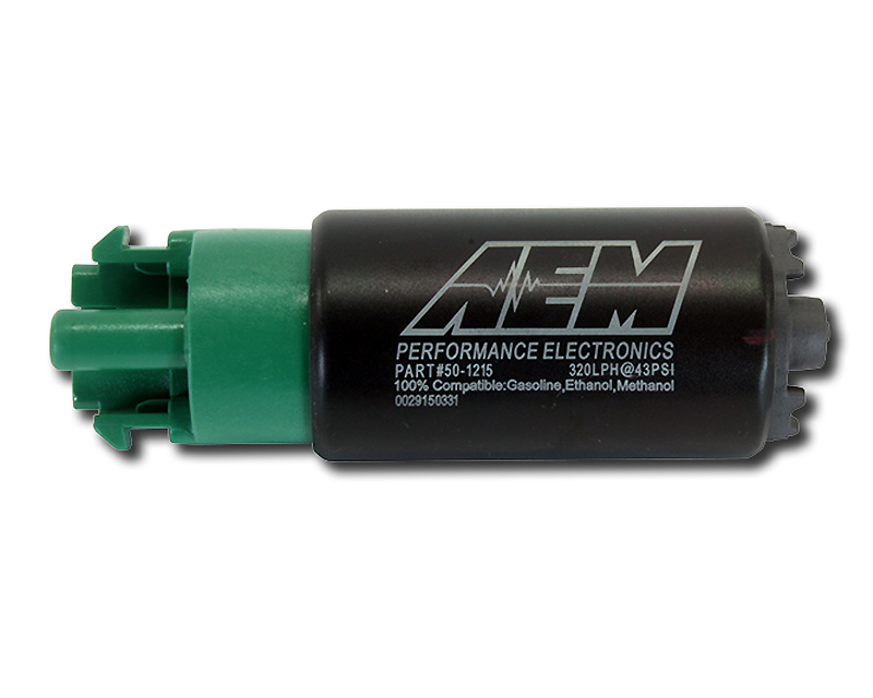AEM E85 320LPH High Flow In-Tank Offset Inlet Fuel Pump with Mounting Hangers - 50-1215