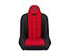 Corbeau Baja SS Suspension Seat in Black Vinyl / Red Cloth 65407