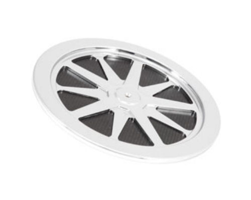 K&N 14 inch 10 Spoke Chrome Top Plate with Carbon Fiber Insert