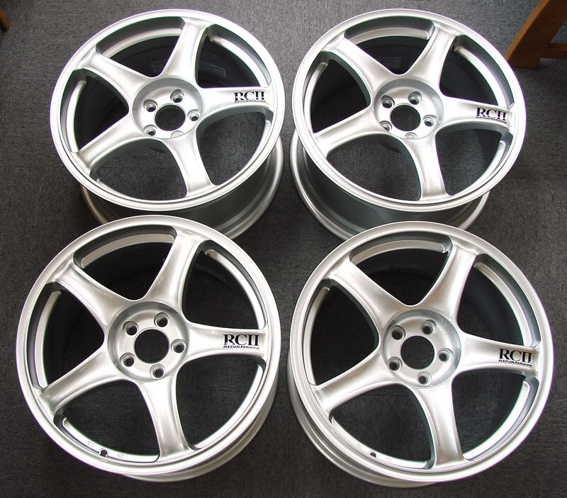 Advan Silver Metallic RCII Wheel Set 18x7 5x100 +48 | 18x7.5 5x100+48m 5x114.3 EVO X CLEARANCE