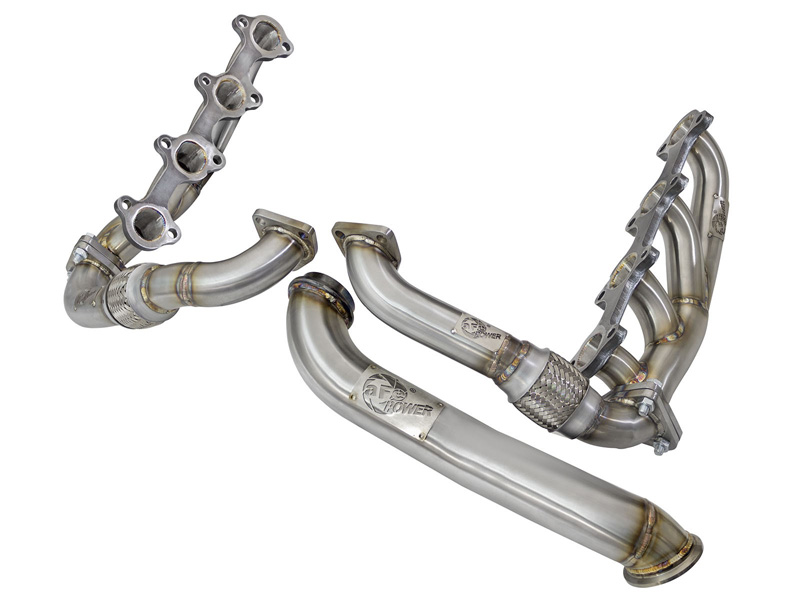 aFe POWER 48-34008 Twisted Steel Headers, Up-Pipes & Down-Pipe GM Diesel Trucks 04.5-10 V8-6.6L (td) LLY/LBZ/LMM - 48-34008