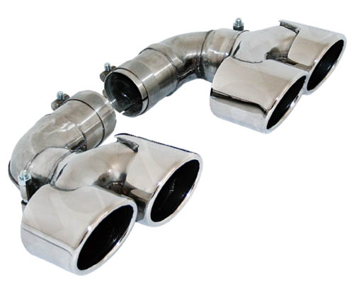 Cargraphic 2x88x77mm Polished Quad Oval Exhaust Tips Porsche 997.1 Turbo 07-09