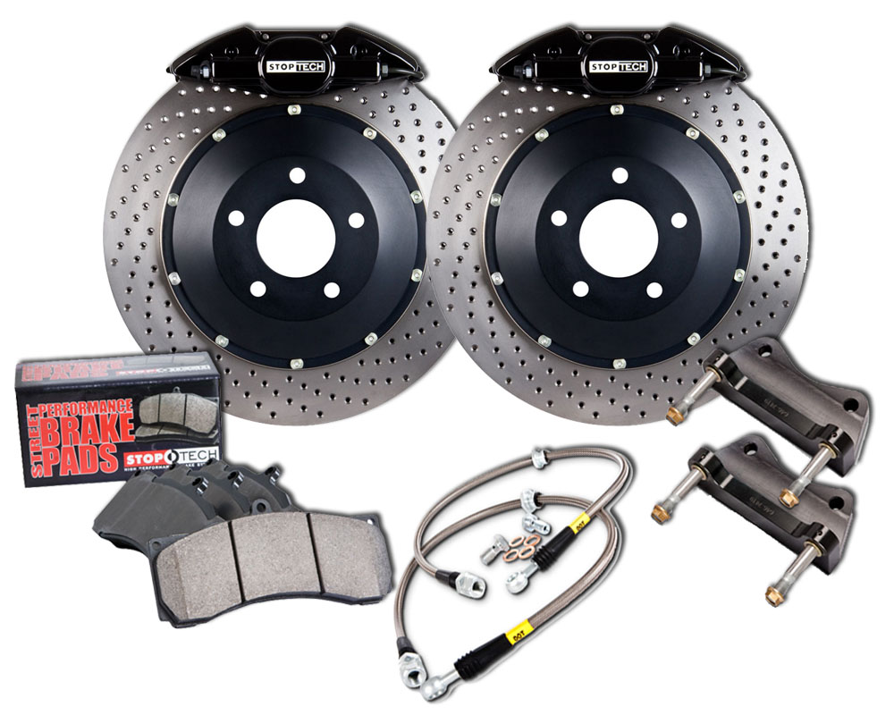 Stoptech Big Brake Kit Rear Drilled Black Caliper BMW 540i 1997