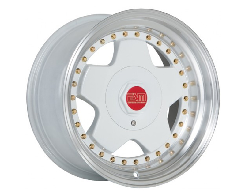 ESM Wheels White with Michined Lip and Gold Rivets ESM-009R Wheel 16x8 4x100|5x100 +20mm