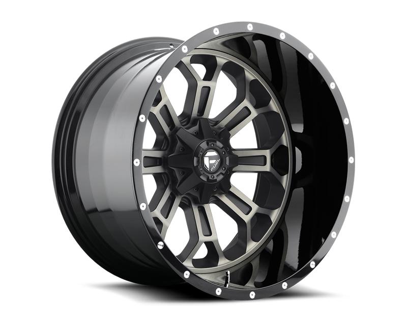 Fuel Black & Machined with Dark Tint Crush D268 2pc Wheel 22x10 5x4.5|5x5 -13mm - D26822002650