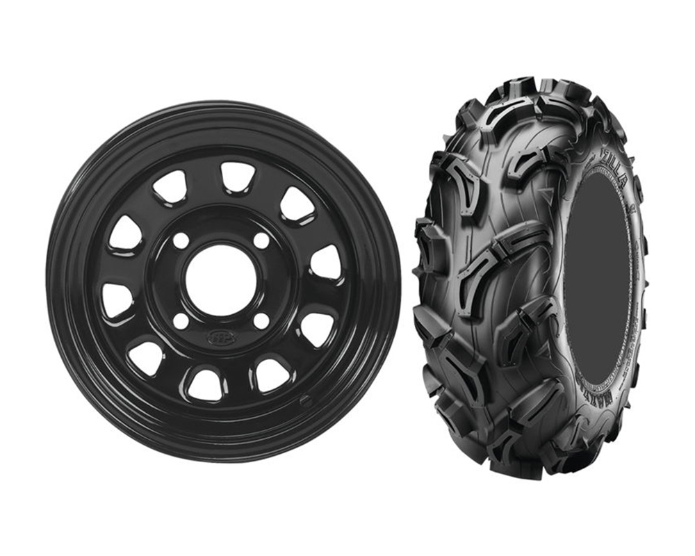 ITP Delta Steel 12x7 5+2 | 4x110 w/Maxxis MU01 Zilla  25x8-12 Wheel & Tire Package - KIT W371363/T681429 LEFT