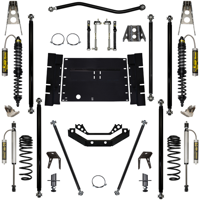 2 Inch Long Arm Lift Kit W/Remote Reservoir Coil Over Shocks 97-06 Wrangler LJ Corp Off Road Pro 4 Stretch Stg 2 Rock Krawler