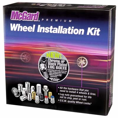 McGard 5 Lug Hex Install Kit w/Locks (Cone Seat Bolt) M14X1.25 / 17mm Hex / 27.5mm Shank L. - Chrome - 67226