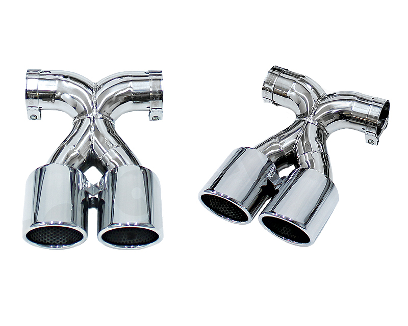 Cargraphic 2x89mm Mirror Polished Double End Tailpipes X Version Porsche 981 Boxster 13-14