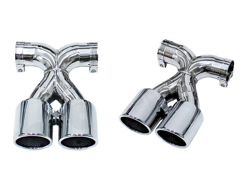 Cargraphic 2x89mm Black Enameled Double End Tailpipe X Version Porsche 981 Boxster 13-14 - PERP81ER35RXENA