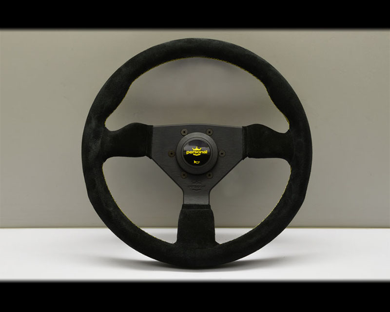 PERSONAL Grinta Steering Wheel - Yellow Stitched Black Suede Grip with Black Coated Aluminum Spoke 13.78 Inch Diameter - PSN-6430-35-2092