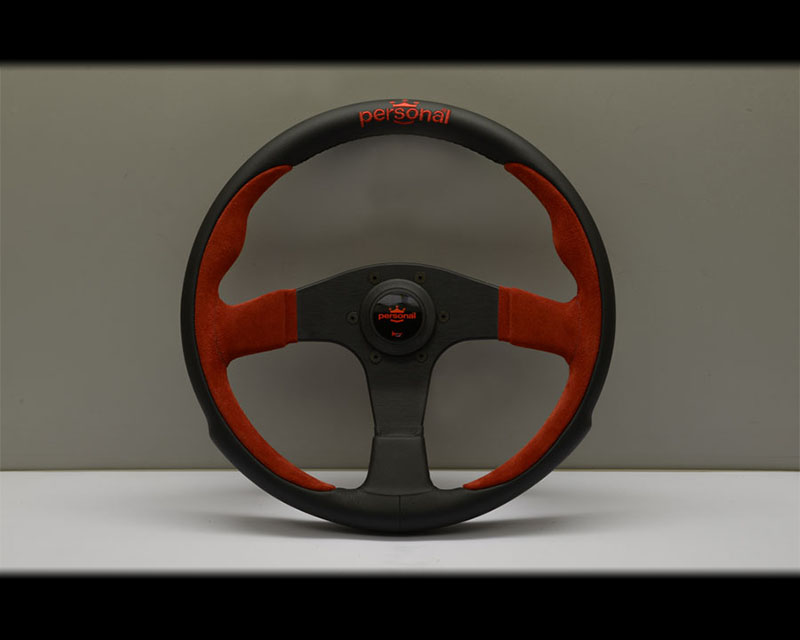 PERSONAL Pole Position Steering Wheel - Red Stitched Black Leather & Red Suede Grip with Black Coated Aluminum Spoke 13.78 Inch Diameter - PSN-6521-35-2011