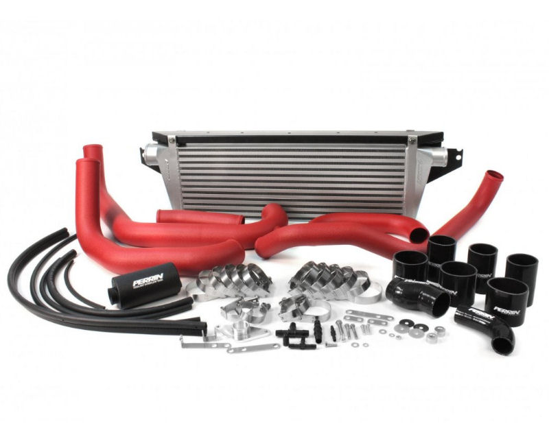 Perrin Performance Front Mount Intercooler and Boost Tube Box with Black Tubes and Red Couplers Subaru WRX 08-14