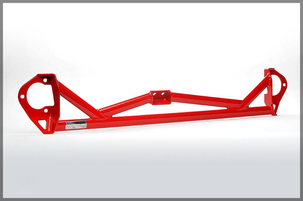 Password JDM 5 Point Front Strut Tower Bar Brushed Red Mitsubishi EVO X 08-13