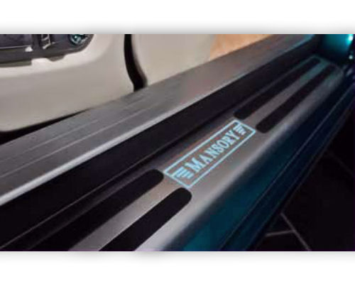 Mansory 2 Part Illuminated Sill Plates Carbon Fiber | Blue Illuminated Logo Rolls Royce Wraith