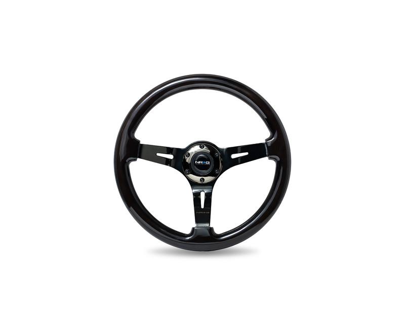 NRG 3 Black Chrome Spokes 350mm Classic Black Wood Grain Wheel Universal - ST-055BK-BK