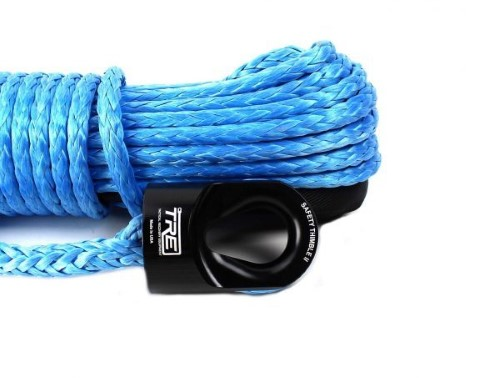 3/8 Inch Blue Winch Rope and Safety Thimble 100 Foot Roll TRE-Tactical Recovery Equipment - TRE-WR-38BL100