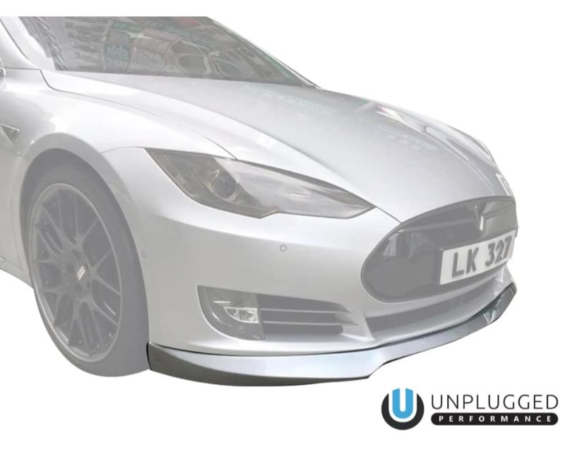 Unplugged Performance Front Spoiler Urethane W/Carbon Accent Tesla Model S 12-16 - UP-FNTLIP-URTCAR-TS