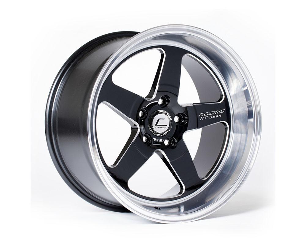 Cosmis Racing XT-005R Wheel 18x10 5x120 +20mm Black w/ Machined Lip & Milled Spokes - XT005R-1810-20-5x120-BML