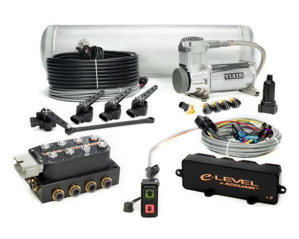 AccuAir e-Level Air Management Package w| Rocker Switch 3-Gallon Black Tank 1|2 Fittings Dual