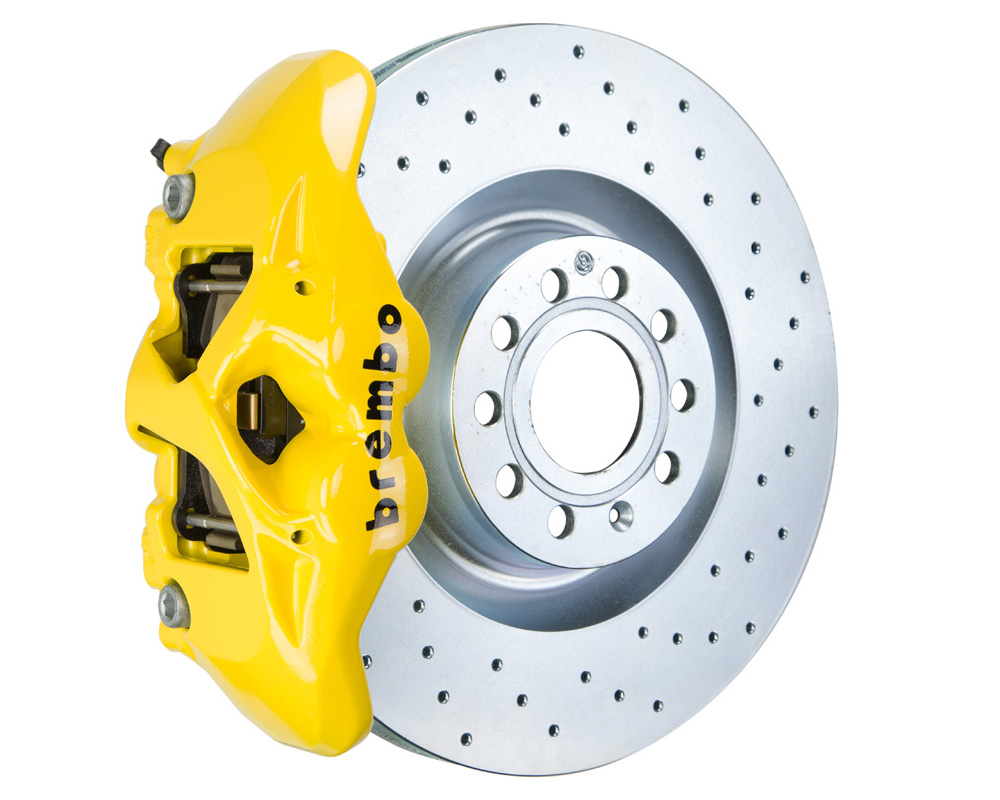 Brembo GT 345x30 1-Piece 4 Piston Yellow Drilled Front Big Brake Kit - 1S4.8002A5