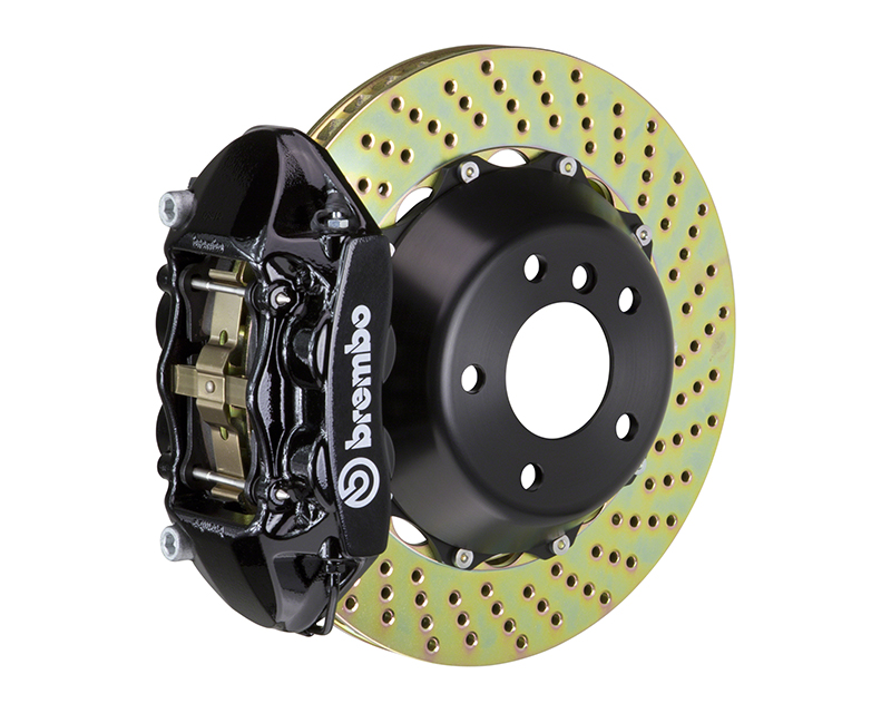 Brembo GT 345x28 2-Piece 4 Piston Black Drilled Rear Big Brake Kit Porsche 993 Carrera 95-98 - 2P1.8019A1