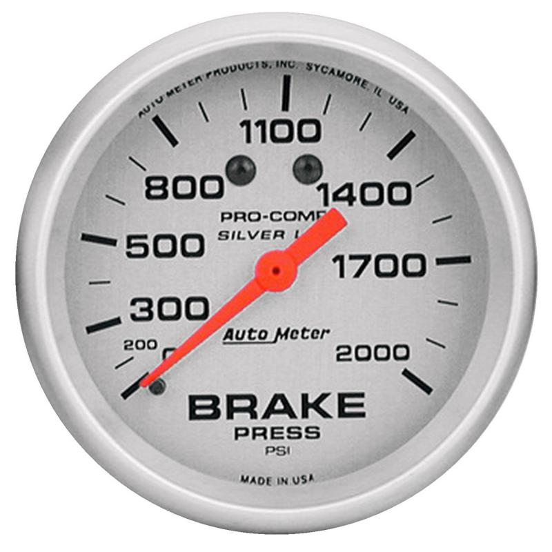 AutoMeter GAUGE; BRAKE PRESS; 2 5/8in.; 2000PSI; LIQUID FILLED MECH; ULTRA-LITE