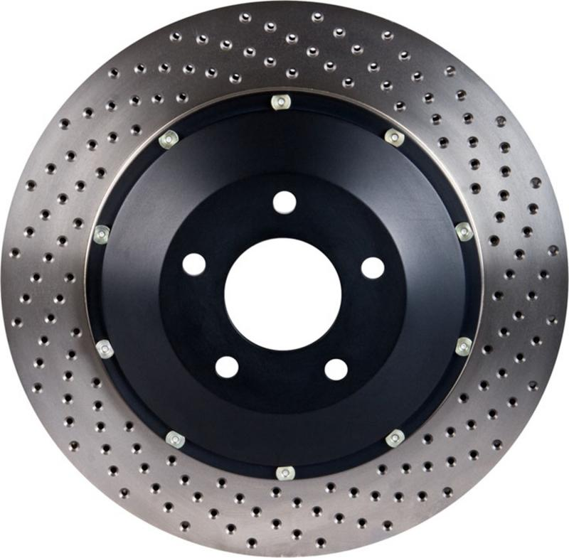 Stoptech AeroRotor 2 Piece Black Hat No Rotor Coating Drilled; Front Left Ford Mustang Front Left 2007-2014