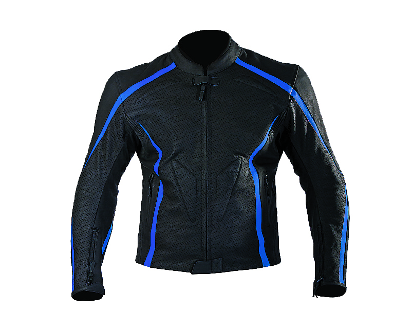 Motonation Apparel Leather Jackets Dominator Leather Sport Jacket (Black/Blue - 44) - MNS-JDM-BKBL-44