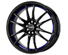 Drag DR-38 17X7  4x100/4x114.3  40mm Gloss Black w Undercut Blue Stripe