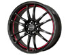 Drag DR-38 17X7  4x100/4x114.3  40mm Gloss Black w Undercut Red Stripe