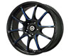 Konig Illusion 17X7  5x100  40mm Black/ Ball Blue Cut Spoke