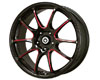 Konig Illusion 17X7  5x100  40mm Black/ Ball Red Cut Spoke