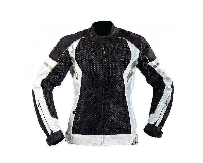 Motonation Apparel Metralla Ladies Tourventure Vented Textile Jacket (Black/White - Small) - MNT-LMT-BKWH-3S