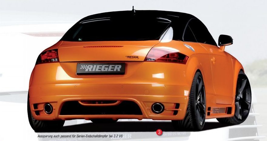 Rieger Carbon Look Rear Skirt w/ Intakes for Single Tips Audi TT 8J 07-12 - R 99047