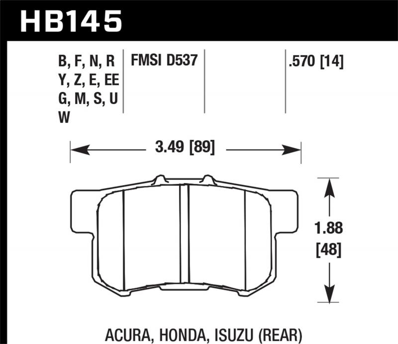 Hawk Performance Disc Brake Pad Rear - HB145F.570