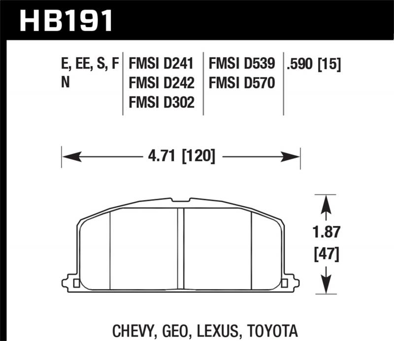 Hawk Performance Disc Brake Pad Front - HB191F.590
