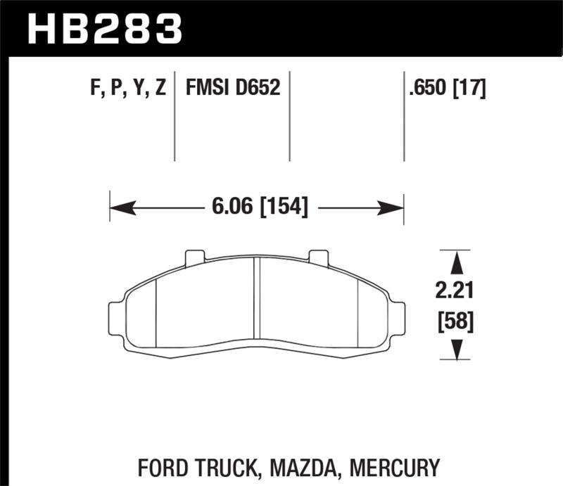 Hawk Performance Disc Brake Pad Front - HB283F.650