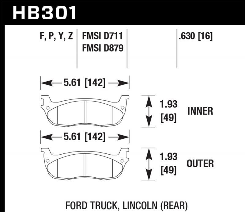 Hawk Performance Disc Brake Pad Rear - HB301F.630