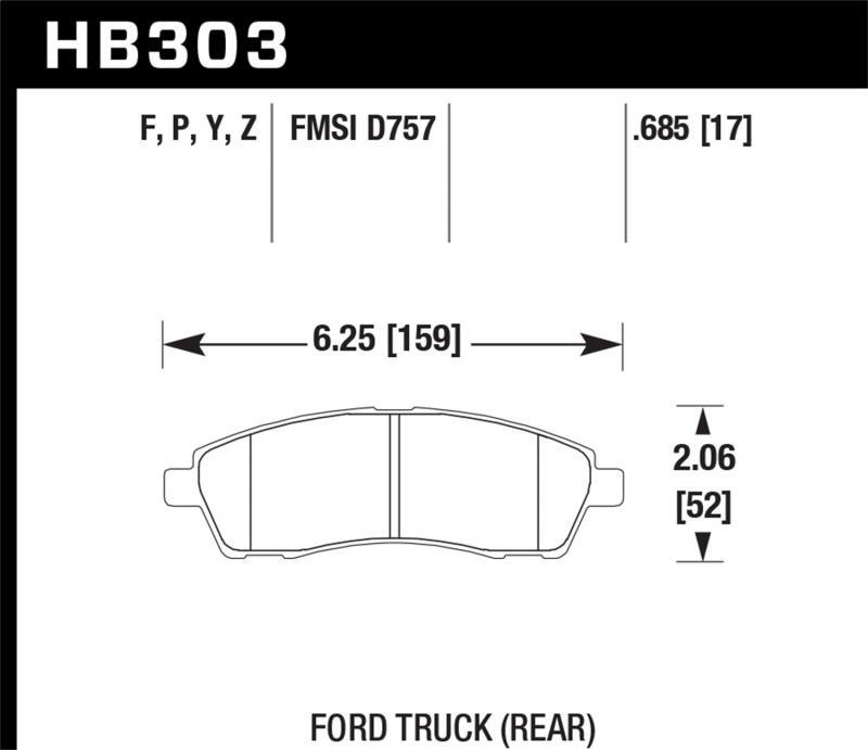 Hawk Performance Disc Brake Pad Ford Rear - HB303F.685